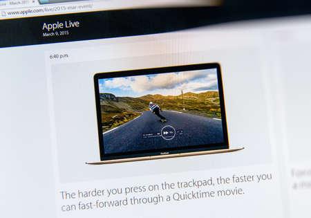 keynote: PARIS, FRANCIA - 09 de marzo 2015: evento Apple Computers tuits magistrales de cerca se ve en iMac con las caracter�sticas de la Fuerza Touch en una pel�cula QuickTime como se ve en 09 de marzo 2015