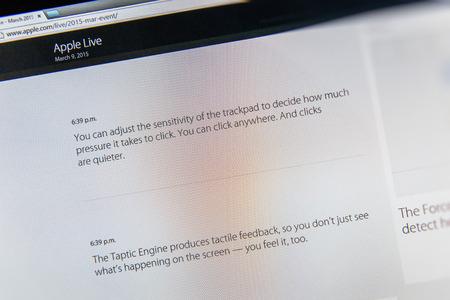 keynote: PARIS, FRANCIA - 09 de marzo 2015: evento Apple Computers tuits magistrales de cerca se ve en iMac con la ventaja reci�n lanzado de Fuerza Touch Trackpad como se ve en 09 de marzo 2015