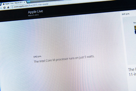 PARIS, FRANCE - MAR 9, 2015: Apple Computers event keynote tweets close up seen on iMac withfacts about the new Intel core M processor running only on 5 watt as seen on 9 March, 2015