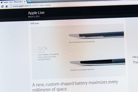 keynote: PARIS, FRANCE - MAR 9, 2015: Apple Computers event keynote tweets close up seen on iMac with the newly launched MacBook retina and its custom-shaped battery as seen on 9 March, 2015