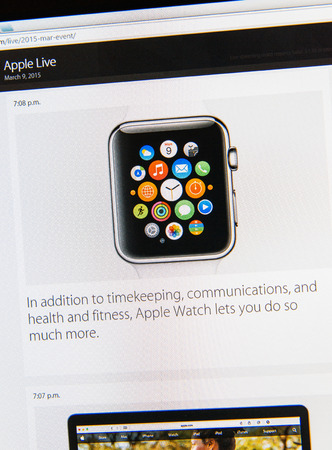 keynote: PARIS, FRANCE - MAR 9, 2015: Apple Computers event keynote tweets close up seen on iMac display with the newly launched  Apple Watch as seen on 9 March, 2015 Editorial
