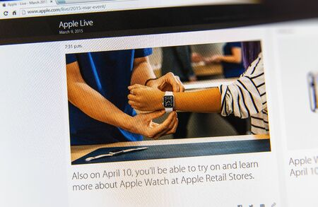 keynote: PARIS, FRANCE - MAR 9, 2015: Apple Computers event keynote tweets close up seen on iMac display with Apple Watch try at Apple Retail Stores as seen on 9 March, 2015 Editorial