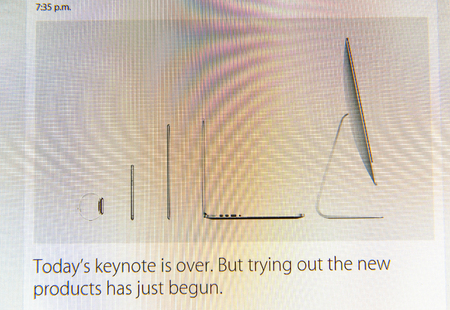 tweets: PARIS, FRANCE - MAR 9, 2015: Apple Computers event keynote tweets close up seen on iMac display with Today keynote is over text as seen on 9 March, 2015 Editorial
