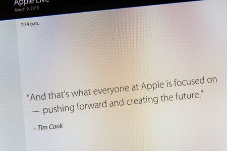 tweets: PARIS, FRANCE - MAR 9, 2015: Apple Computers event keynote tweets close up seen on iMac display with quote from Tim Cook speech about Apple creating future Editorial