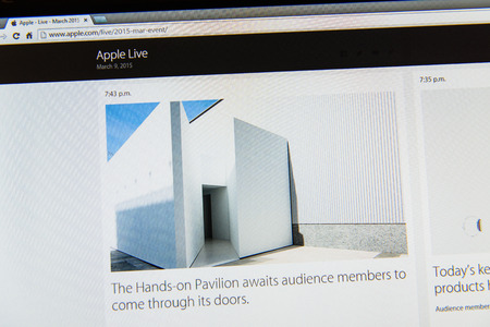 tweets: PARIS, FRANCE - MAR 9, 2015: Apple Computers event keynote tweets close up seen on iMac display with Hands-On Pavilion ready to see the watch as seen on 9 March, 2015 Editorial