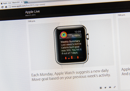 keynote: PARIS, FRANCE - MAR 9, 2015: Apple Computers event keynote tweets close up seen on iMac display with Apple Watch suggesion goal as seen on 9 March, 2015
