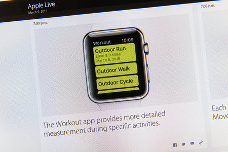 tweets: PARIS, FRANCE - MAR 9, 2015: Apple Computers event keynote tweets close up seen on iMac display with the workout app detailed measurement as seen on 9 March, 2015