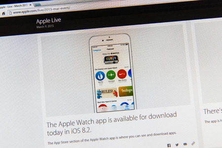 tweets: PARIS, FRANCE - MAR 9, 2015: Apple Computers event keynote tweets close up seen on iMac display with Apple Watch app being available to download on iOS 8.2 as seen on 9 March, 2015 Editorial