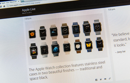 keynote: PARIS, FRANCE - MAR 9, 2015: Apple Computers event keynote tweets close up seen on iMac display featuring Apple Watch collection as seen on 9 March, 2015