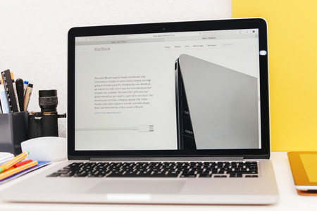 PARIS, FRANCE - MAR 10, 2015: Apple Computers website on MacBook Retina in room environment showcasing  USB-C conector page as seen on 10 March, 2015 Editorial