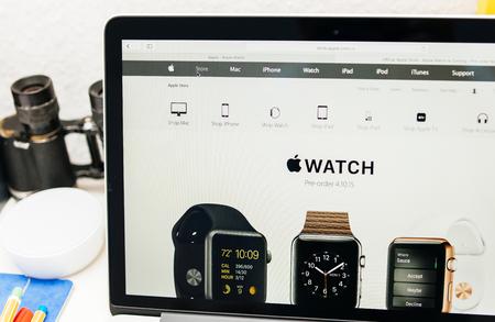 preorder: PARIS, FRANCE - MAR 10, 2015: Apple Computers website on MacBook Retina in room environment showcasing Apple Watch range as seen on 10 March, 2015 Editorial