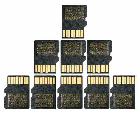 SD Memory card pattern on white background. Secure Digital are used to store data on smartphon, pictures on digital camera photo