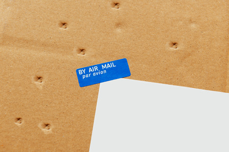avion: Air Mail, Par Avion envelope parcel detail delivered with damages - seven small perforations on the cardboard