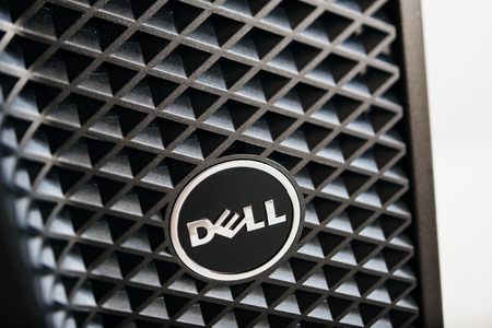 configured: LONDON, UNITED KINGDOM - JUNE 30, 2014: Dell Computers logo on a workstation, as seen on june 30, 2014. Dell workstations machines come configured as tower, rack-mounted or notebooks Editorial