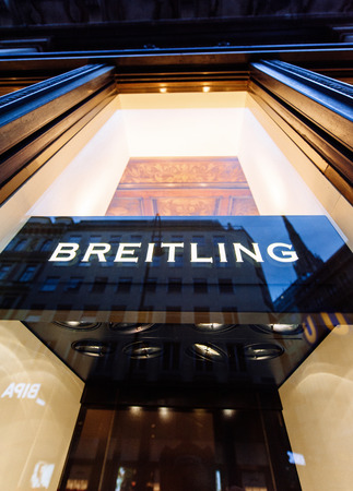 aviators: VIENNA, AUSTRIA - JULY 07, 2011: Breitling flagship store facade on August 21, 2010 in Vienna, Austria. Breitling SA designs, engineers, manufactures and distributes chronometer watches and is known for precision-made chronometers useful to aviators.