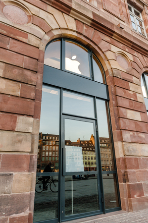 rearrangement: Apple Store with  covered shopping windows with black fabric curtains to protect the store rearrangement for the Apple Watch launch. Apples Watch with goes on sale in US, Europe and Asia on April 10