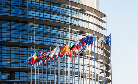 All EU Flags in front of the European Parliament, Flags in front of the European Parliament, Strasbourg, Alsace, France