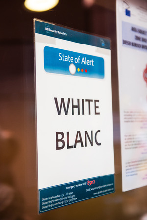 security code: STRASBOURG, FRANCE - MAY 02, 2015: Entrance to European Parliament with white security code alert Editorial