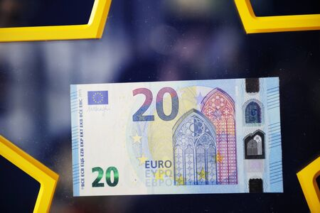 euro area: STRASBOURG FRANCE  MAY 2 2015: New 20 Euro banknote with the European symbol Europe is highly protected and has a new design and will start circulating in the euro area on 25 November 2015.