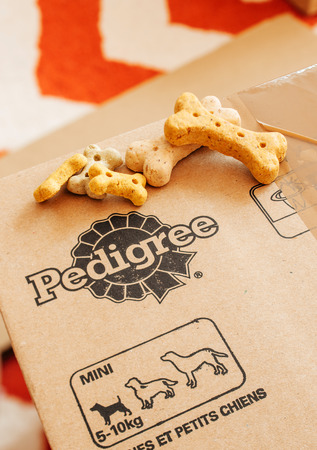 mars incorporated: FRANKFURT, GERMANY - SEPTEMBER 20, 2014: Box of Pedigree Petfoods with dog food on top. Pedigree is a subsidiary of the American group Mars, Incorporated specializing in pet food, with factories in England at Melton Mowbray and Birstall, Leeds; and office