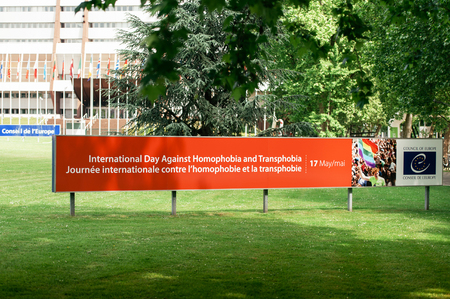 homophobia: Advertising banner in front of the Council of Europe announcing the 17th May the International Day Against Homophobia and Transphobia