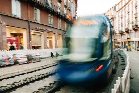 tramway: STRASBOURG FRANCE  APRIL 24 2015: Strasbourgs tramway passing in blurred motion during reconstruction on tramway lines