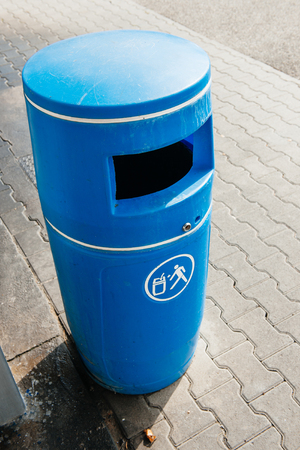 blue bin: Blue bin made from plastic seen from above