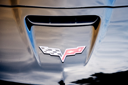corvette: STRASBOURG, FRANCE - MAY 16, 2015: Chevrolet Corvette logo on a  luxury sport car Editorial