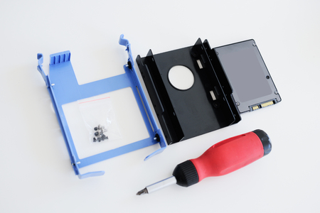 solid state drive: SSD disk mounting kit (solid state drive) instalation kit including screwdriver for a faster computer as seen from above