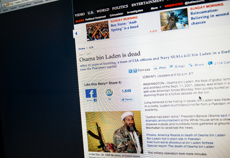 laden: LONDON, UNITED KINGDOM - MAY 15, 2011: CBS report the death of Osama bin Laden on May 05, 2011. Bin Laden claimed responsibility for the September 11, 2001 attacks on the United States along with numerous other mass-casualty attacks against civilian and m