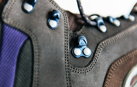 rubber lining: Closeup side view of mountain boots