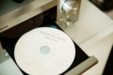 festiva: PARIS, FRANCE - JANUARY 26, 2015: Marlboro Music Festival CD in CD player tray. The Marlboro Music School and Festival is a retreat for advanced classical training and musicianship held for seven weeks each summer in Marlboro, Vermont Editorial