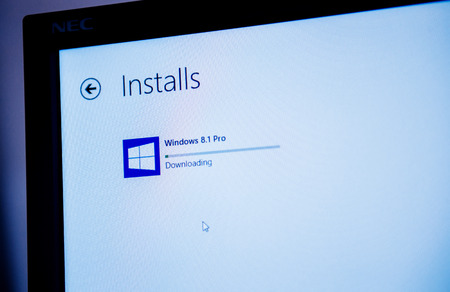 81: PARIS, FRANCE - JANUARY 26, 2015: Windows 8.1 PRO installation process seen on a computer screen. Installing 8.1 is required to maintain access to support and Windows updates after January 12, 2016 for windows 8 users