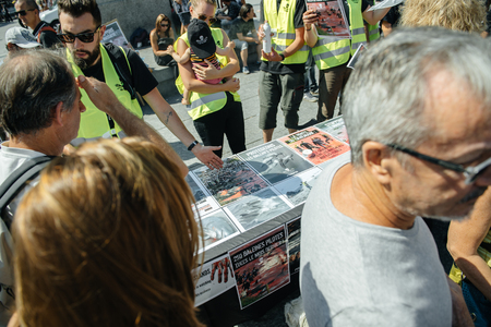 outcry: STRASBOURG, FRANCE - AUG 22, 2015: Marine conservation non-profit organization Sea Shepherd protesting against the slaughter of pilot whales and arrest of 7 crew members - demonstrating placards