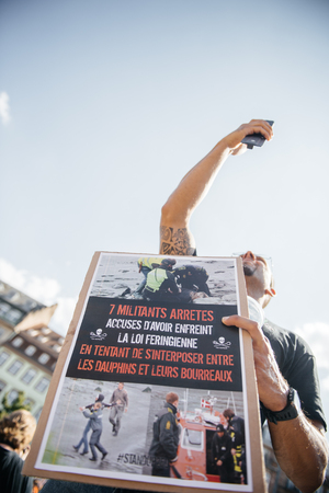 outcry: STRASBOURG, FRANCE - AUG 22, 2015: Marine conservation non-profit organization Sea Shepherd protesting against the slaughter of pilot whales and arrest of 7 crew members - man protesting
