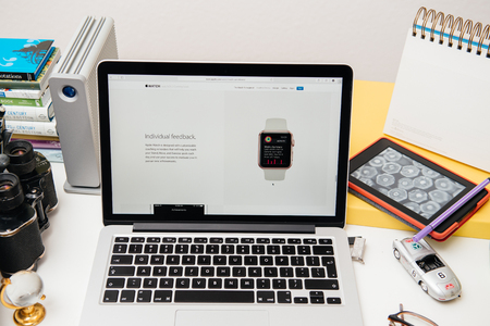 announced: PARIS, FRANCE - SEP 10, 2015: Apple Computers website on MacBook Pro Retina in a creative room environment showcasing the newly announced Individual Feedback in WatchOS 2