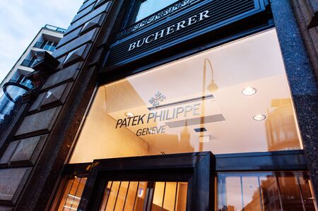 aviators: VIENNA, AUSTRIA - JULY 07, 2011: Patek Philippe flagship store facade on July 07, 2011 in Vienna, Austria. Patek Philippe is known for precision-made chronometers useful to aviators and luxury watches Editorial