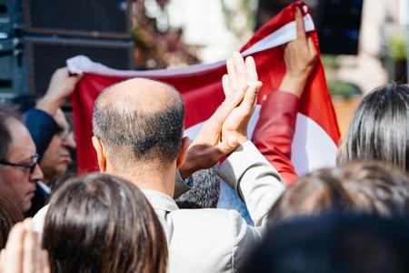 demonstrators: STRASBOURG, FRANCE - OCT 4, 2015 Demonstrators protesting against Turkish President Recep Tayyip Erdogans visit to Strasbourg - crowd protesting Editorial