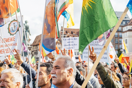 demonstrators: STRASBOURG, FRANCE - OCT 4, 2015 Demonstrators protesting against Turkish President Recep Tayyip Erdogans visit to Strasbourg - victory and solidarity hand signs raised by protesters