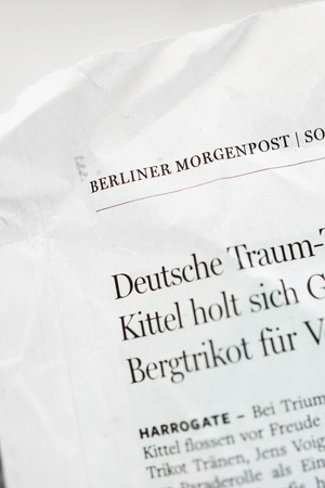 daily newspaper: LONDON, UNITED KINGDOM - OCTOBER 10, 2014: Berliner Morgenpost magazine detail. Berliner Morgenpost is a German newspaper, based and mainly read in Berlin, where it is the second most read daily newspaper.