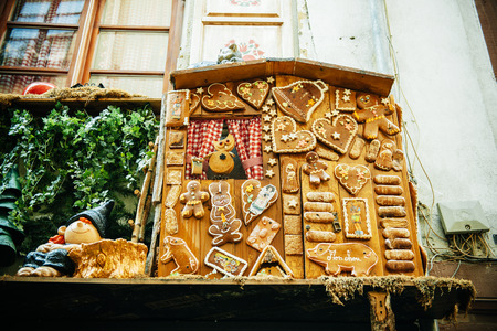alsatian: Traditional Alsatian biscuits on a house facade Stock Photo
