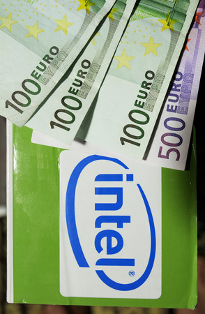 intel: PARIS, FRANCE - FEBRUARY 6, 2011: Intel logotype on a new computer box with eight hundred  euro above Editorial