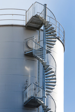 spiral staircase: Circular spiral staircase on metallic construction