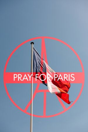 counter terrorism: Pray for Paris sign with France National Flag - France symbol significant death toll feared in Paris terror attacks Stock Photo