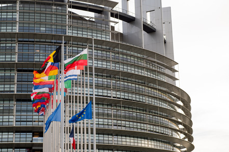 symbol victim: STRASBOURG, FRANCE - 14 Nov 2015: European Union Flags and France flag flies at half-mast in front of the European Parliament building following an terrorist attack in Paris