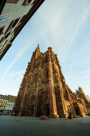 mobilization: STRASBOURG, FRANCE - 16 NOV, 2015: Almost empty place in front of the Strasbourg Cathedral of Strasbourg after attacks in Paris on 13 November