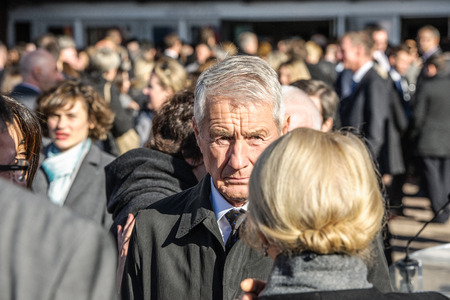 mobilization: STRASBOURG, FRANCE - NOV 16, 2015: Thorbjorn Jagland - Secretary General of the CE after the minute of silence in tribute to the victims of the attacks in Paris which left at least 129 people dead
