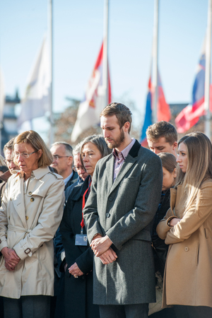 mobilization: STRASBOURG, FRANCE - NOV 16, 2015: Council of Europe employees  during the minute of silence in tribute to the victims of the attacks in Paris  which left at least 129 people dead