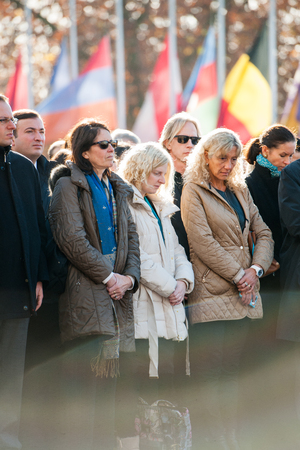 counter terrorism: STRASBOURG, FRANCE - NOV 16, 2015: Council of Europe employees  during the minute of silence in tribute to the victims of the attacks in Paris  which left at least 129 people dead