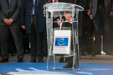 counter terrorism: STRASBOURG, FRANCE - NOV 16, 2015: Thorbjorn Jagland - Secretary General of the CE and Council of Europe employees during the minute of silence in tribute to the victims of the attacks in Paris which left at least 129 people dead